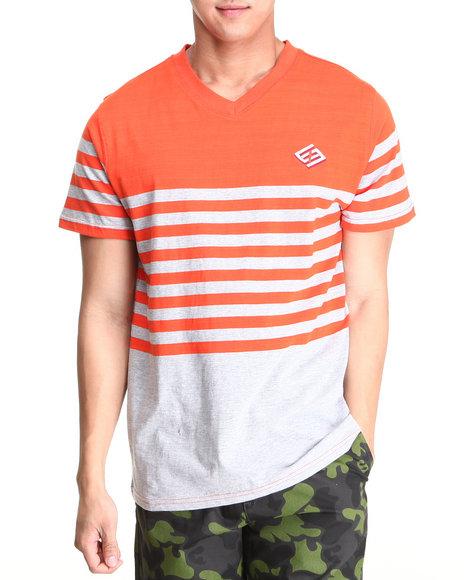 Enyce Men Grey,Orange Lane V-Neck T-Shirt