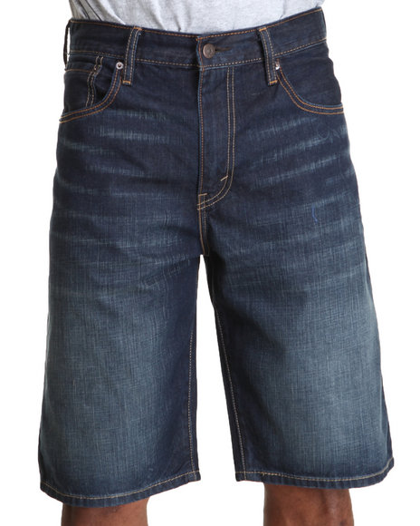 Levi's Dark Wash 569 Loose Straight Midnight Scraped Shorts