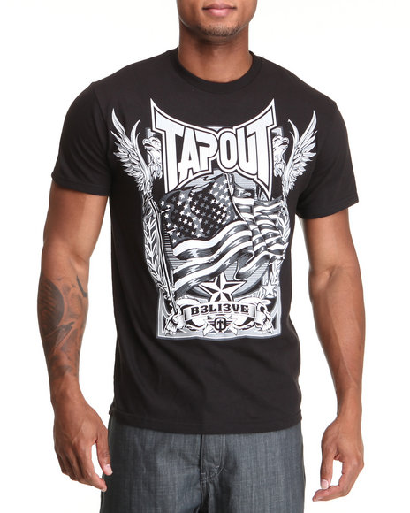 TAPOUT Men Black Our Flag S/S Tee