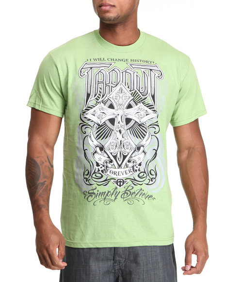 TAPOUT Men Lime Green Ancient Cross S/S Tee