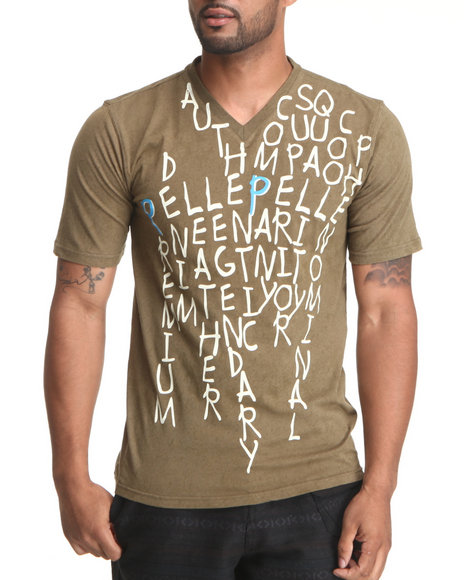 Pelle Pelle Men Light Brown S/S Pelle Letters Tee