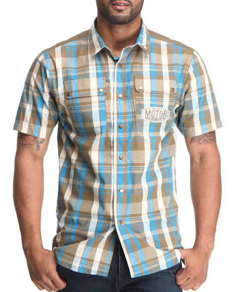 Pelle Pelle Men Blue,Brown S/S Plaid Motor Button Down Shirt