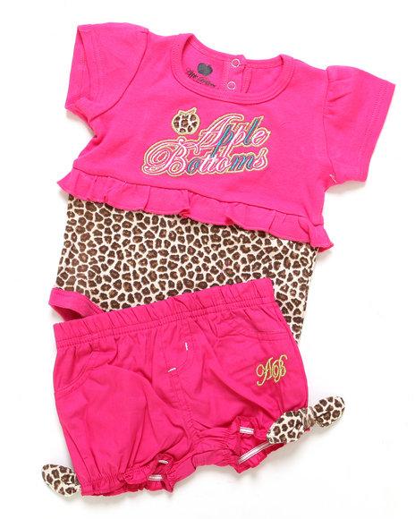 Apple Bottoms Girls Pink 2 Pc Set - Bodysuit & Shorts (Infant)