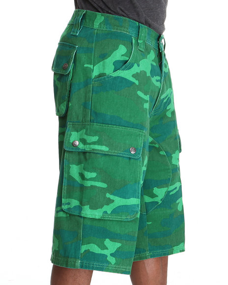Pelle Pelle - Men Green Camo Cargo Shorts