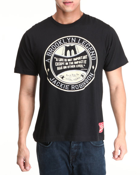 Jackie Robinson: 5 To 42 Black 5 To 42 Brooklyn Legend S/S Tee