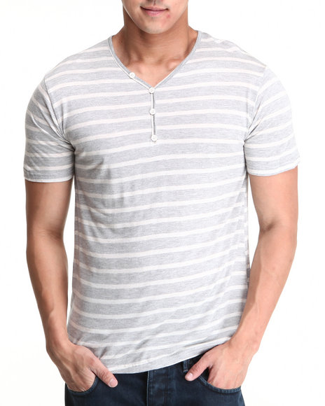 Basic Essentials - Men Grey,Ivory Short Sleeve Henley - $9.99