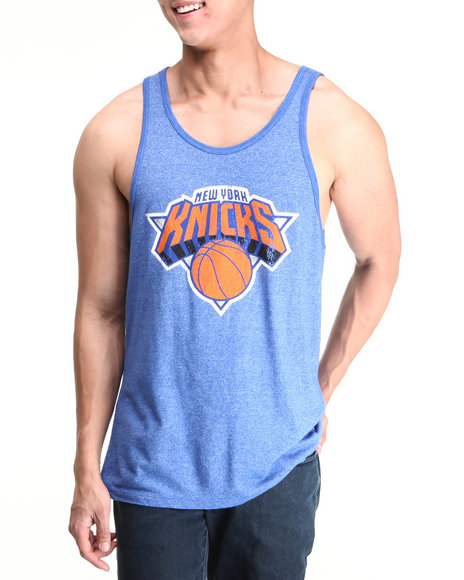 Nba, Mlb, Nfl Gear - Men Blue New York Knicks Anthony Mason Vintage Player Tri Blend Tank Top (Drjays.Com Exclusive)