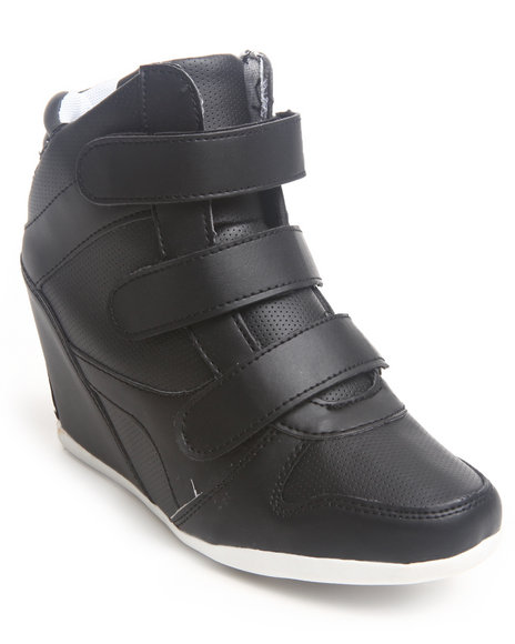 Fashion Lab - Women Black Bala 3 Strap Wedge Sneaker - $33.99