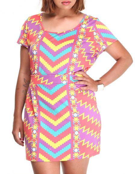 COOGI Multi Coogi Dress Set W/High Waisted Skirt And Long Top (Plus Size)