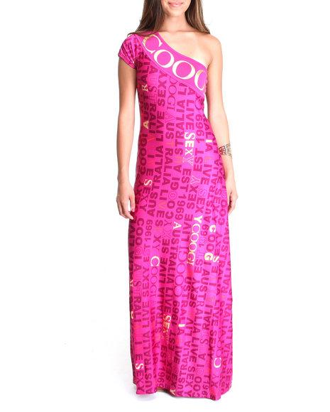 COOGI - Women Pink One Shoulder Maxi