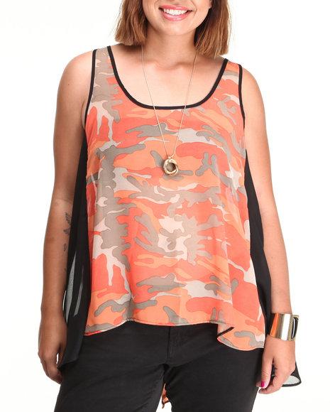 Fashion Lab Camo,Pink Lt. Jane Chiffon Tank (Plus Size)