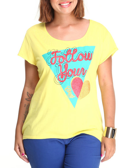 Coogi - Women Yellow Follow Your Heart High-Low Tee (Plus)