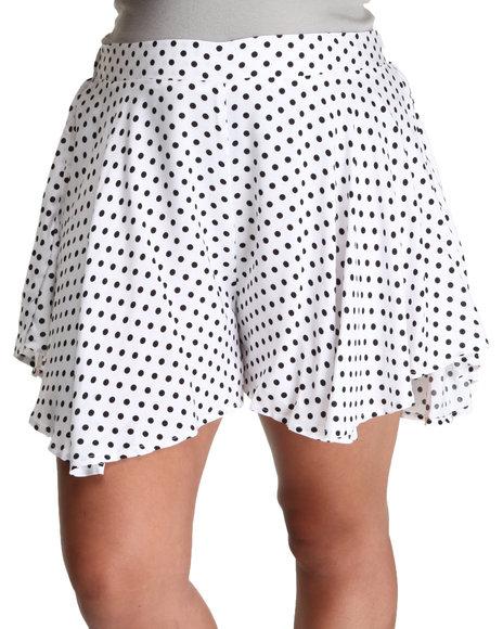 Fashion Lab White Polka Dot Swing Short (Plus Size)