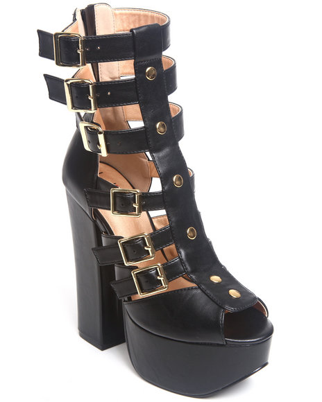 Luichiny Black Opening Act Buckle Pump