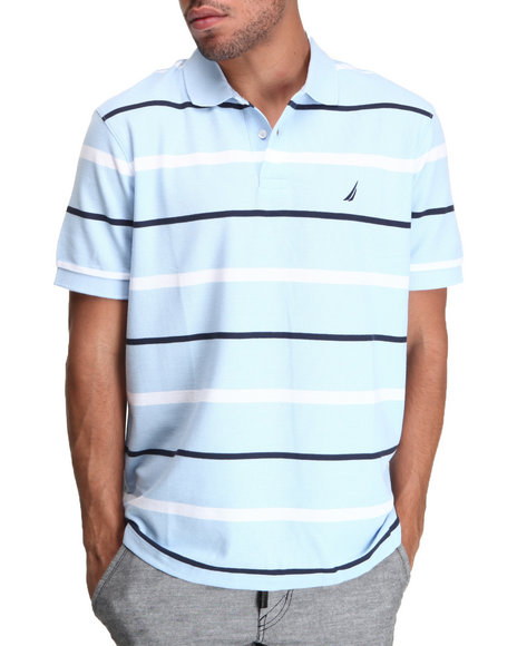 Nautica - Men Light Blue Stripe Performance Pique Polo