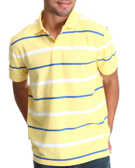 Nautica - Men Yellow Stripe Performance Pique Polo