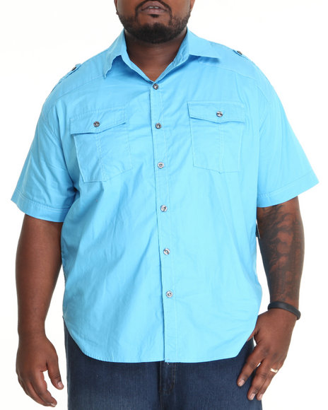 - Men Blue Soild Poplin Military Button-Down (B&T)
