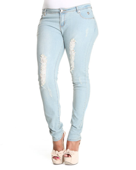 Apple Bottoms - Women Light Wash Embroidered Pocket Distressed Skinny Jean