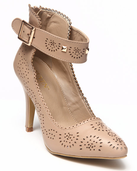 Fashion Lab Beige Fritizi Pump W/Peforated Details Ankle Strap