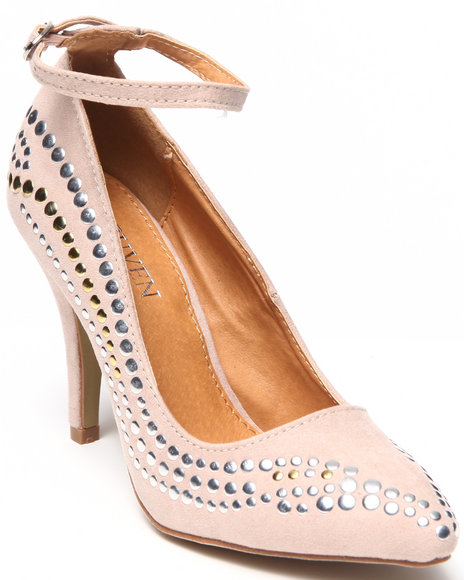 Fashion Lab - Women Tan Anke Pump W/Nail Heads - $17.99