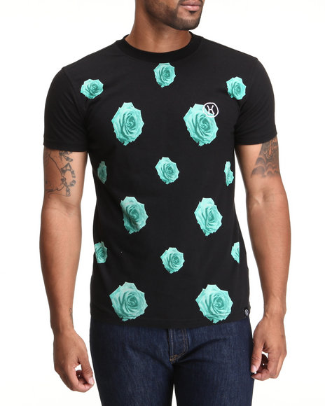 Hudson NYC Black Rose Print S/S Tee