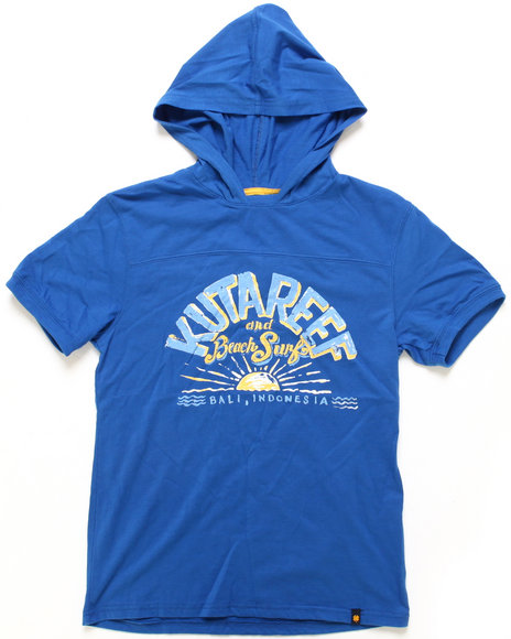 Lucky Brand Boys Blue Kuta Reef S/S Hoodie Pullover Top (8-20)