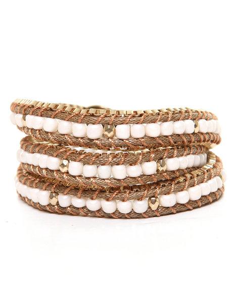 Drj Accessories Shoppe Women Beaded Wrap Bracelet Gold