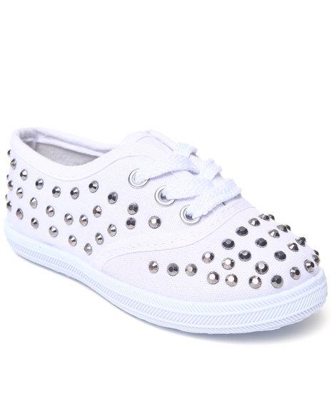La Galleria Girls White Studded Canvas Sneaker (5-10)
