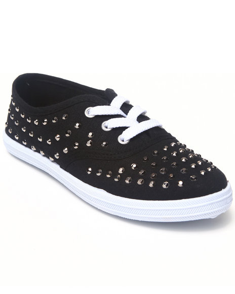 La Galleria Girls Black Studded Canvas Sneaker (11-4)
