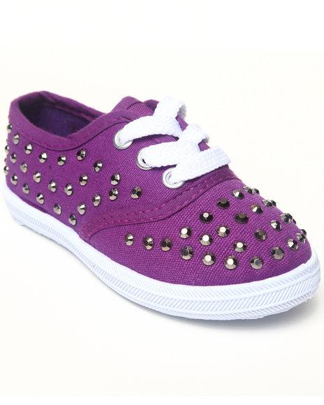 La Galleria Girls Purple Studded Canvas Sneaker (5-10)