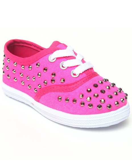 La Galleria Girls Pink Studded Canvas Sneaker (5-10)