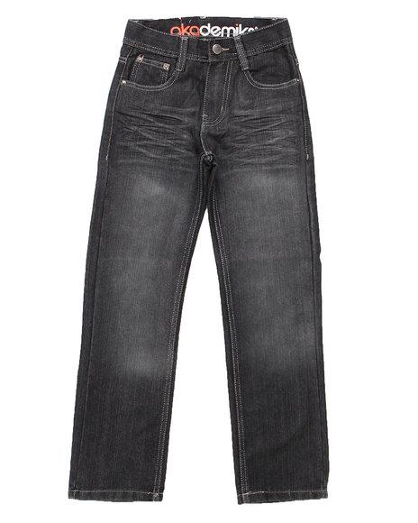 Akademiks - Boys Black Flap 5-Pocket Jeans (8-20)