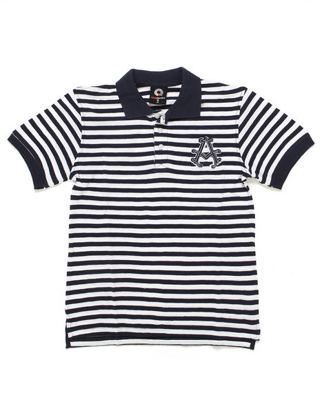 Akademiks - Boys Navy Striped Pique Polo (8-20)