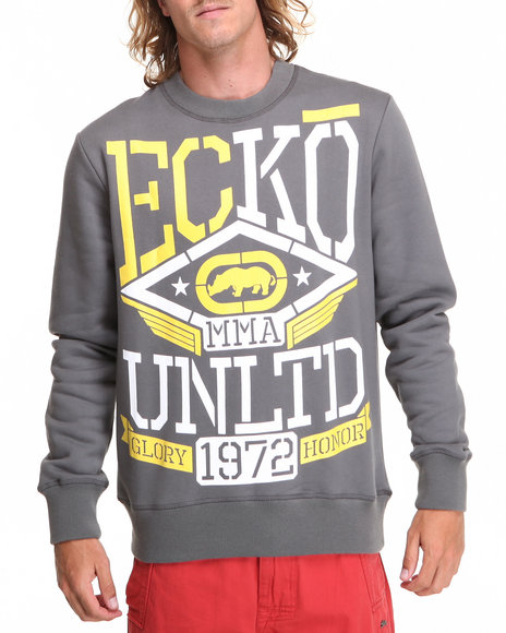 Ecko - Men Grey Squad Mma Crew Neck Sweater