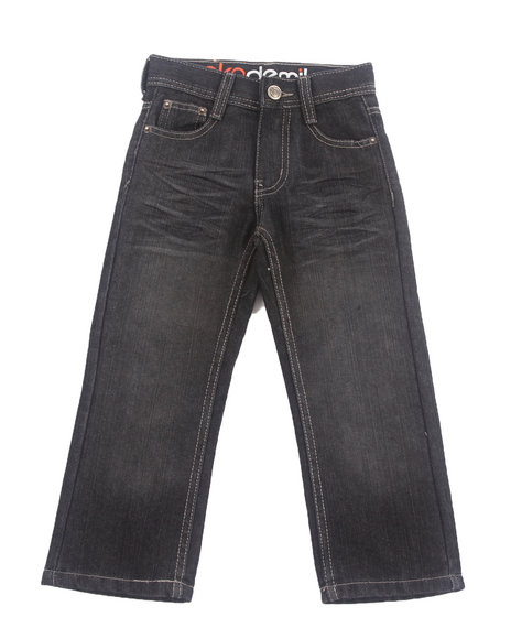 Akademiks - Boys Black Flap 5-Pocket Jeans (4-7)