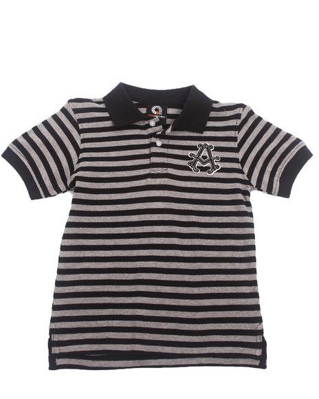 Akademiks - Boys Black Striped Pique Polo (4-7)
