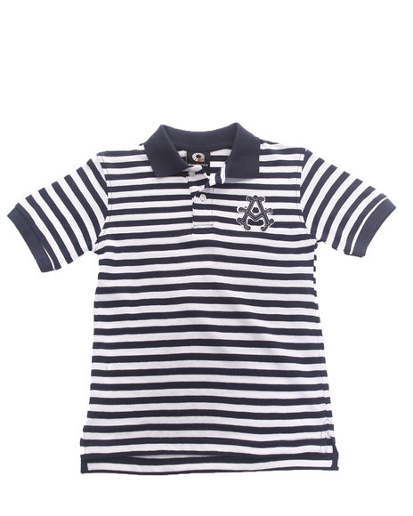 Akademiks Boys Navy Striped Pique Polo (4-7)