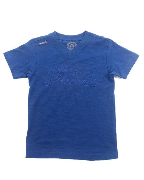 Akademiks - Boys Blue Slub V-Neck Tee (4-7)