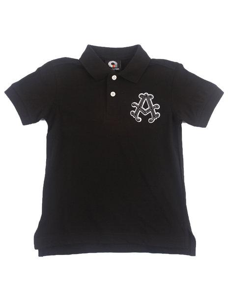 Akademiks - Boys Black S/S Solid Pique Polo (4-7)