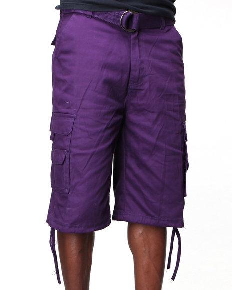 MO7 - Men Purple Twill Cargo Shorts
