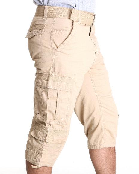 Southpole Men Khaki Belted Capri Cargo Shorts