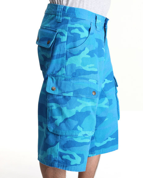 Pelle Pelle - Men Blue Camo Cargo Shorts