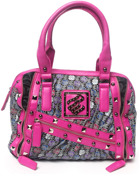 Rocawear Women Pink Vicky Studded Signature Satchel