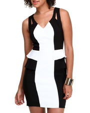 Dresses - Sexy Colorblock Peplum Bodycon Dress