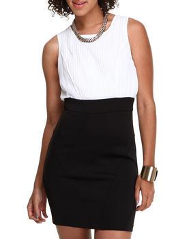 XOXO - Pleated Front Scuba Skirt 2Fer Dress