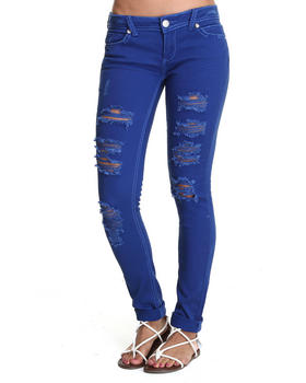 Almost Famous - Distructed Bling Trim Skinny Jean