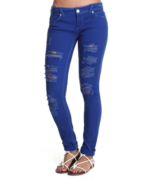 Almost Famous - Women Blue Distructed Bling Trim Skinny Jean - $19.99