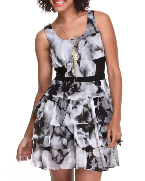 Xoxo - Women Black,White Printed Tiered Mesh Insert Dress