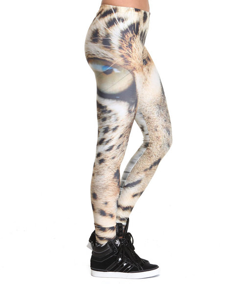 Mr. Gugu & Miss Go - Women Beige Leopard Eyes Leggings