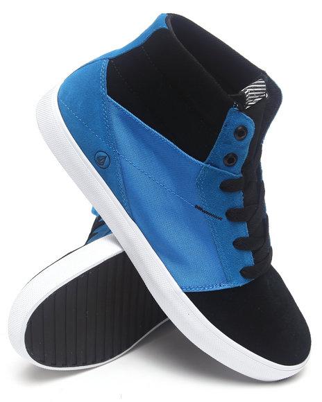 Volcom Black,Blue Grimm Mid Blue-Black Suede/Canvas Sneakers